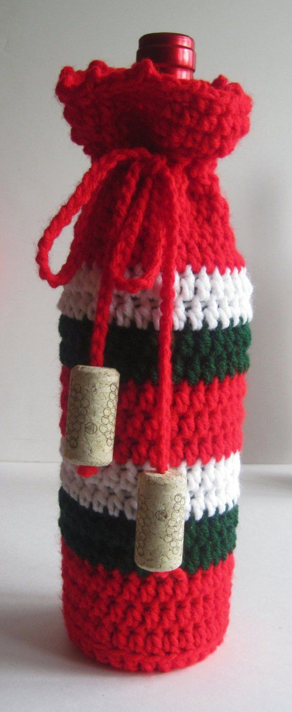 Wine Bottle Cover Crochet Cozy Gift Wrap Red Green And White With Cork Tassels Christmas Christmas Crochet Crochet Cozy Bottle Cozies