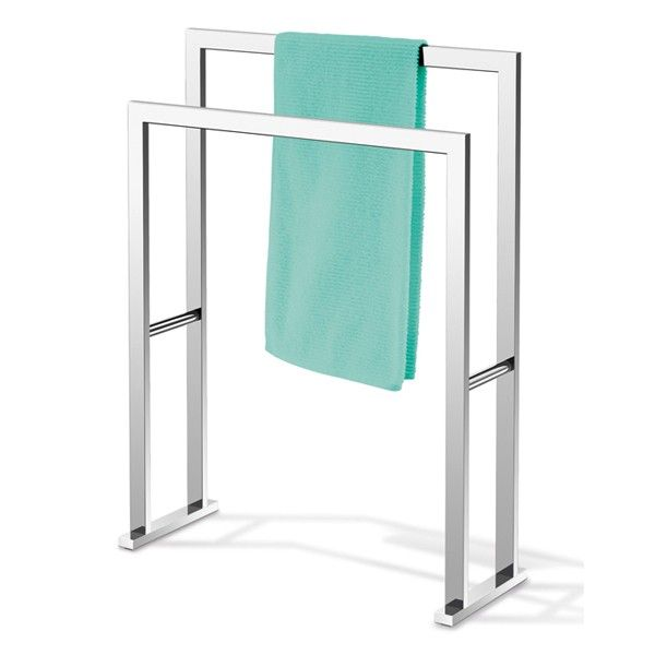 Zack Linea Polished Stainless Steel Freestanding Towel Rail With