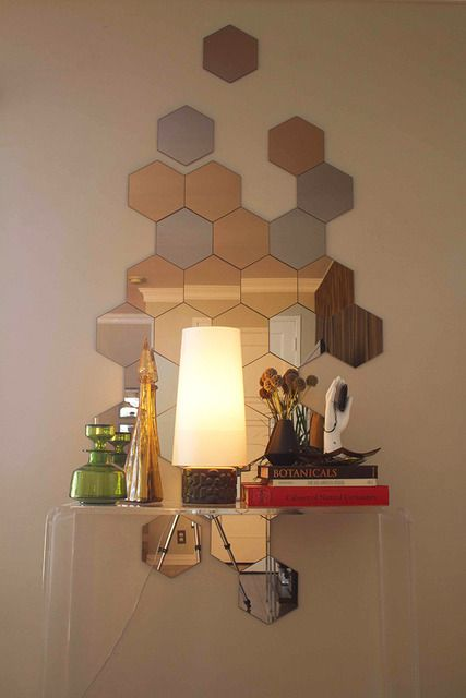 Honeycomb Mirror Design Idea With Images Mirror Wall Living