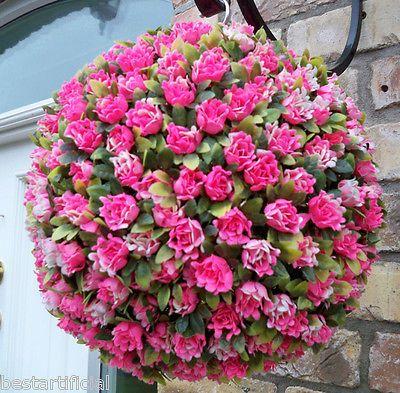 2 Best Artificial 30cm Pink Rose Flower Balls Topiary Hanging Garden Basket New Ebay Hanging Flower Baskets Pink Rose Flower Flower Ball