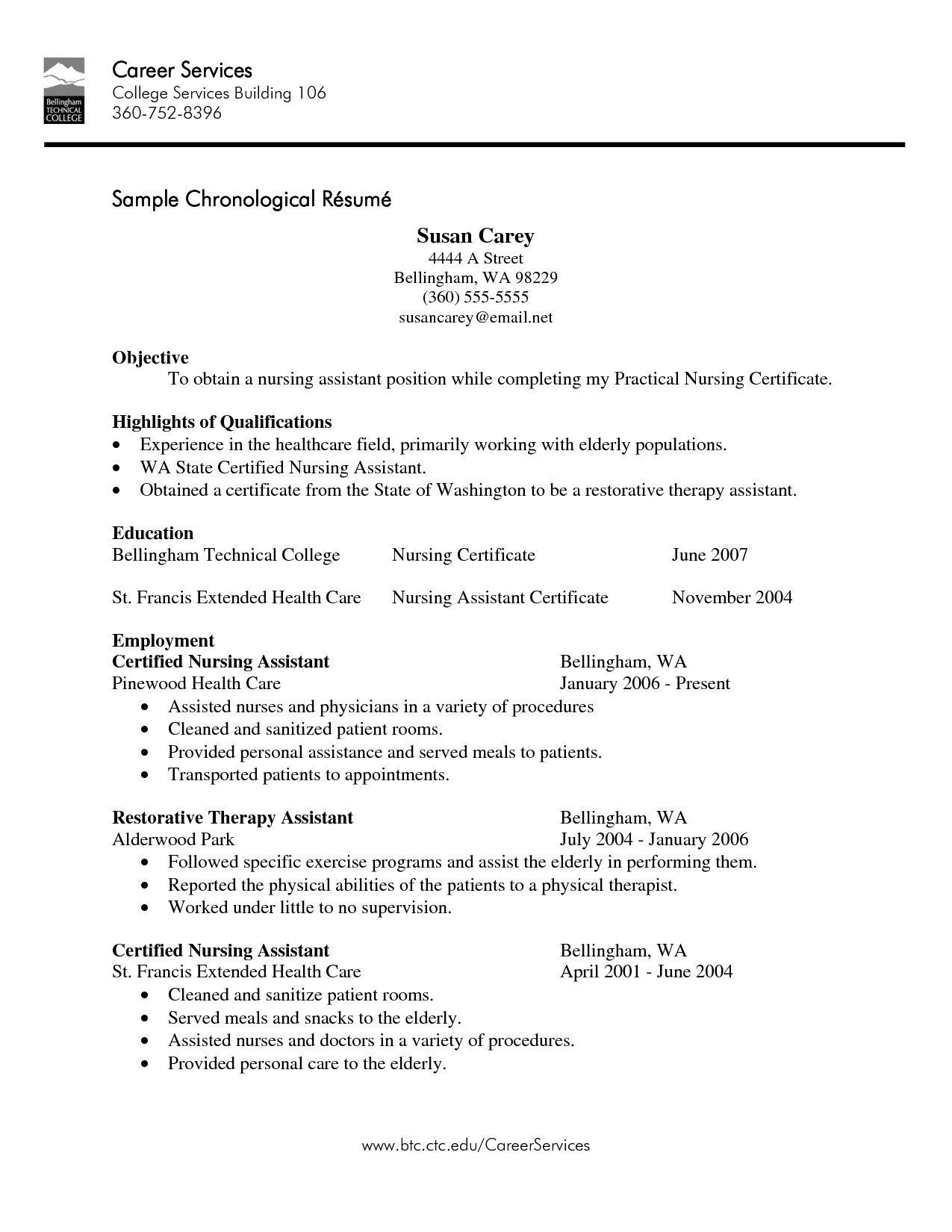 Job Skills For Resume Cna