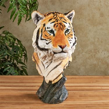 Sumatran Tiger Head Endangered Wildlife Animal Wall Art Hanging Sculpture Decor
