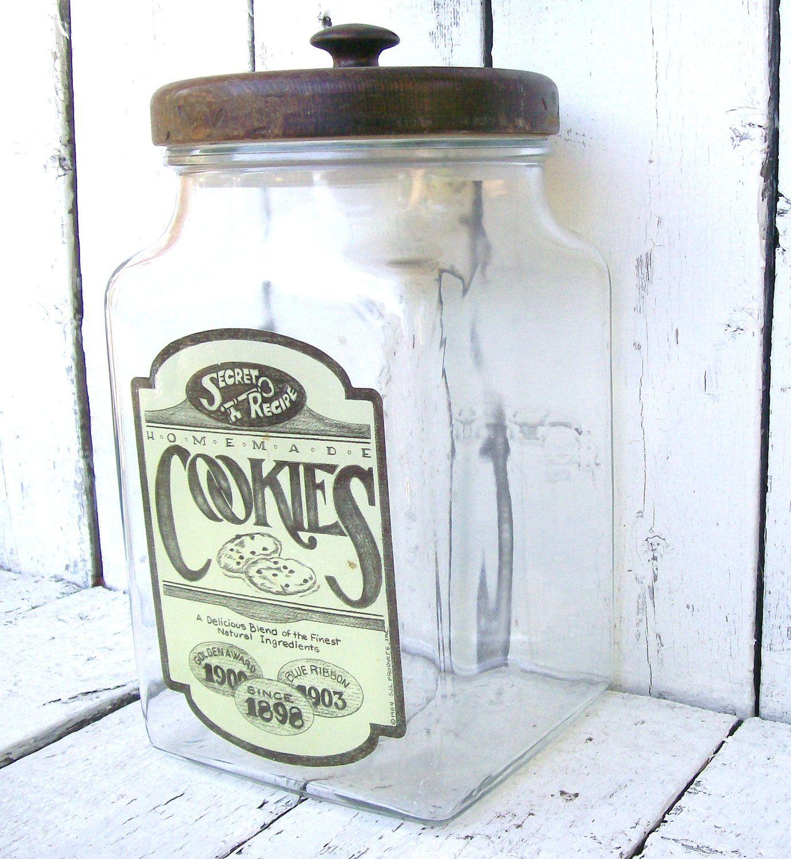 Vintage Cookie Jars For Sale Vintage Glass Cookie Jar Large Apothecary Vintage Farmhouse General