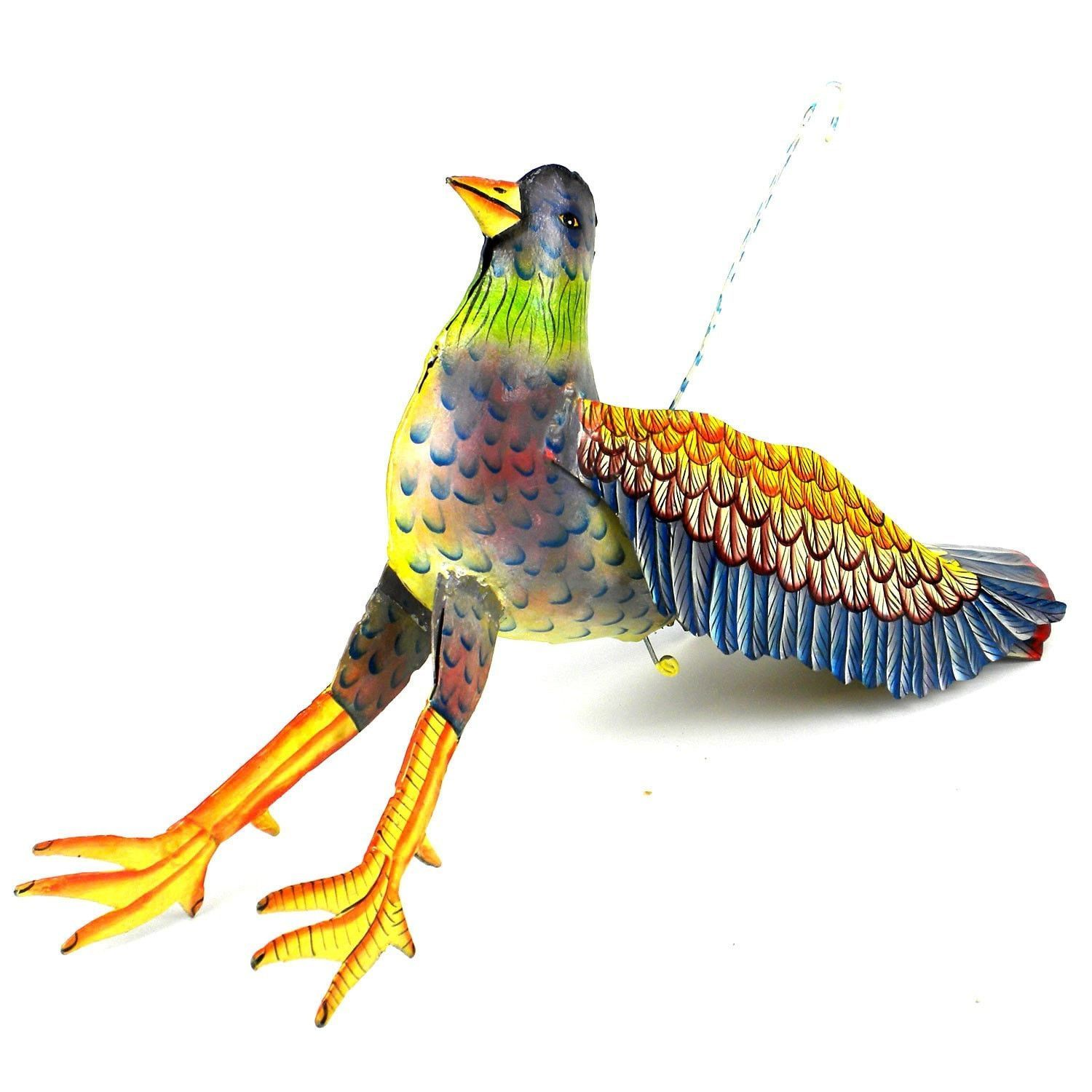Large painted metal hanging bird croix des bouquets o products