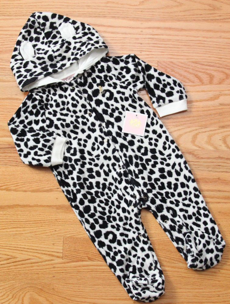 juicy couture baby girl velour hooded footie black white
