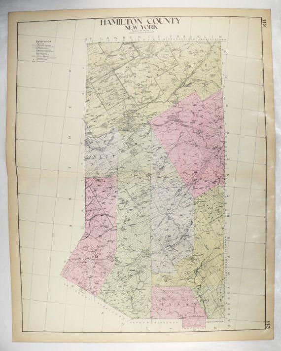 Large Map Hamilton County NY Map New York County Adirondack Park