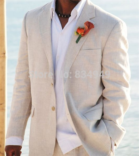 Light Beige Linen Suits Beach Wedding Tuxedos For Men Custom Made ...