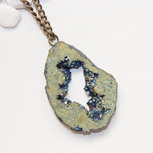 Blue Green Geode Necklace Sparkly Crystal Geode Slice Designer
