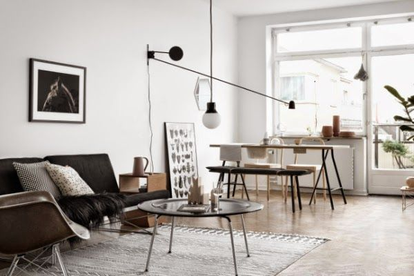 Moody and white living room