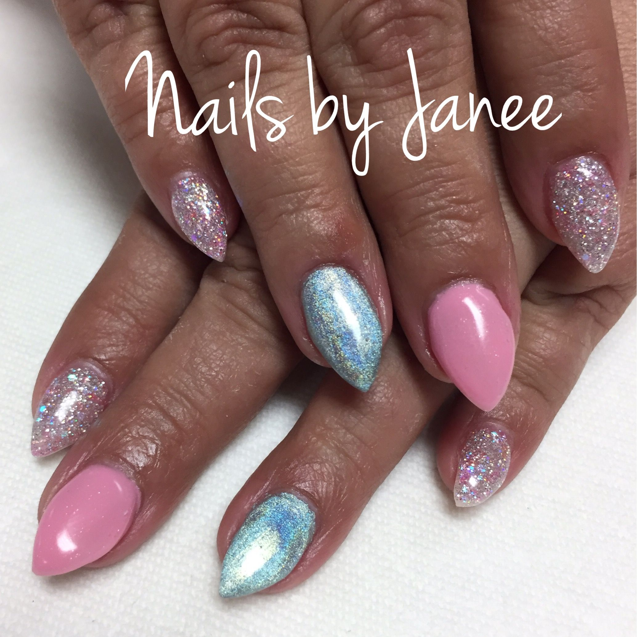Pink and hologram nails by Janee
