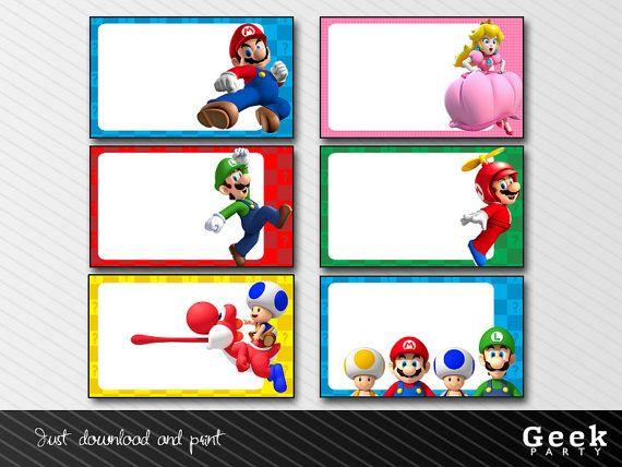 Mario Bros Labels Instant Download Printable Mario Luigi Princess Peach Toad Yoshi Mario Bros Party Mario Bros Birthday Super Mario Bros Party
