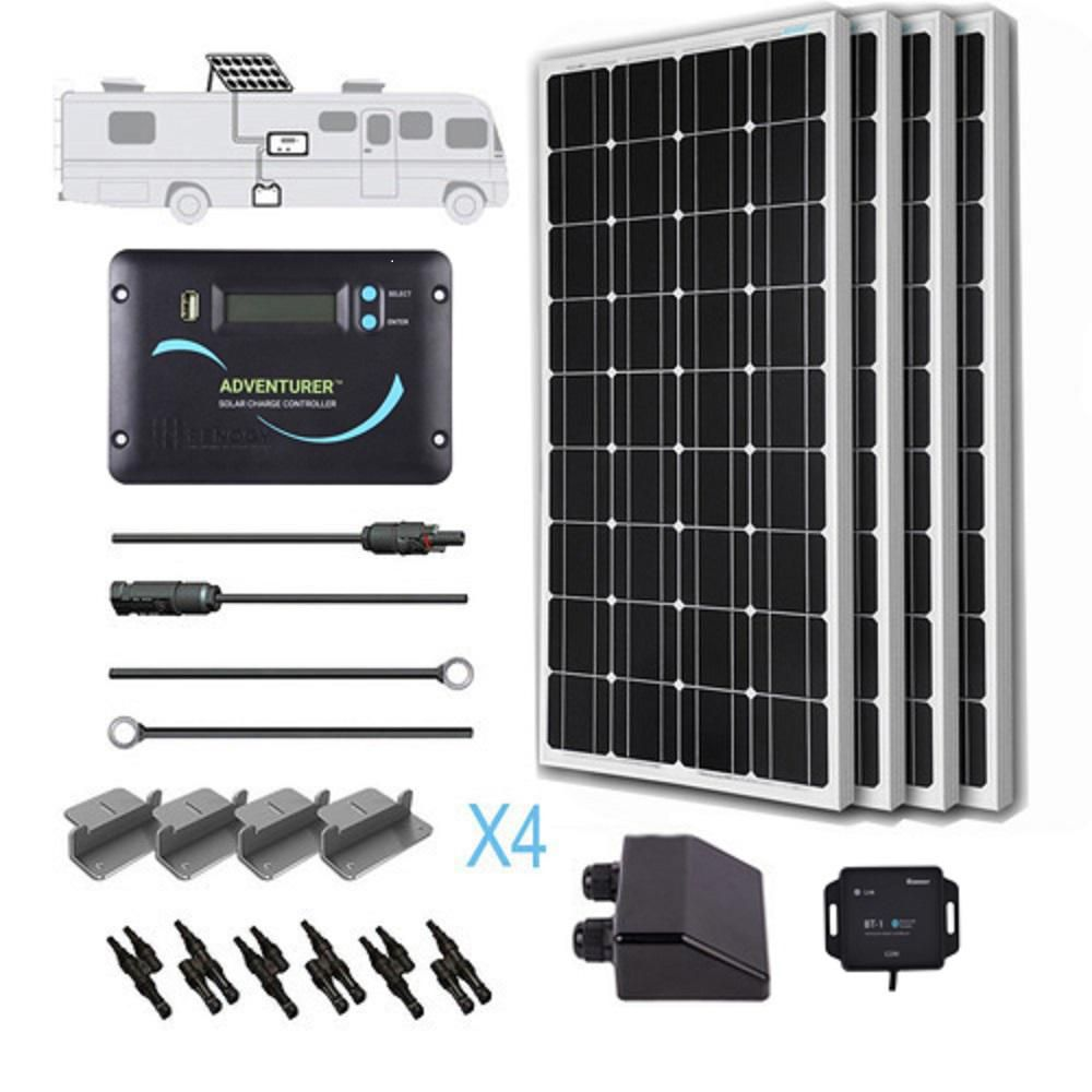 Renogy 400 Watt 12 Volt Monocrystalline Solar Rv Kit For Off Grid Solar System Solar Kit Solar Panels Solar Power Panels