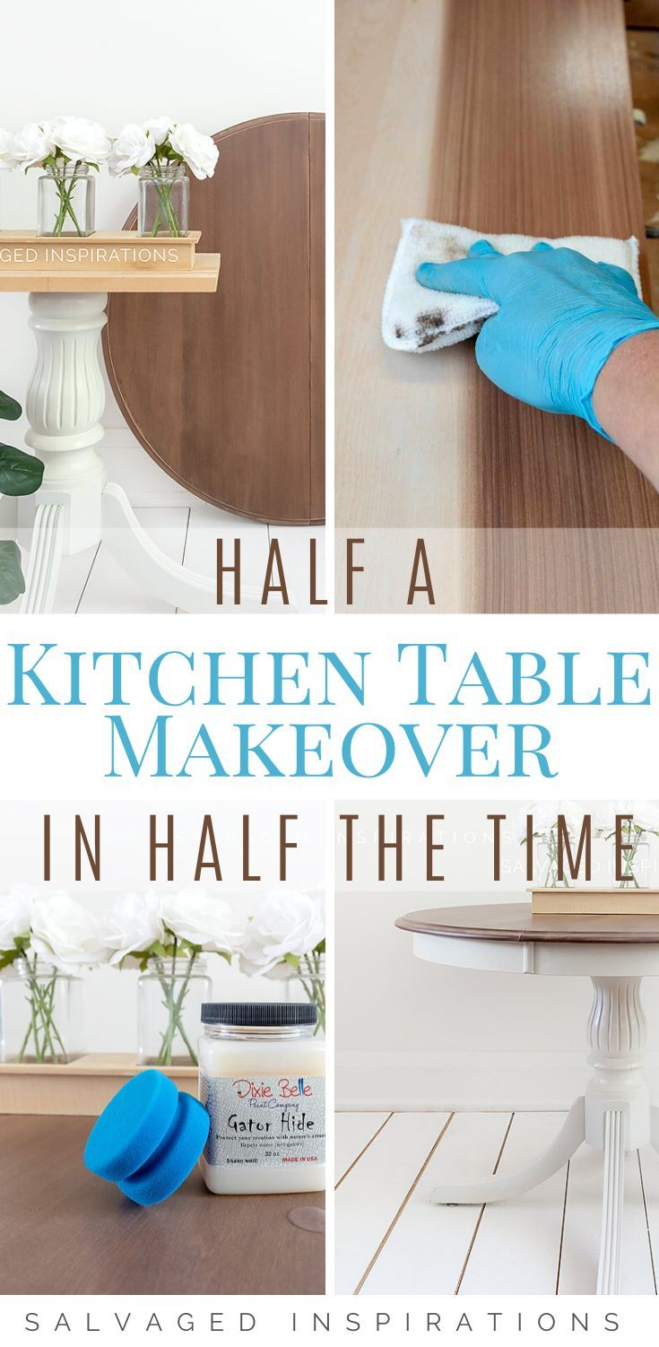 Half a Kitchen Table Makeover in Half the Time  | Gorgeous Table Makeover | Salvaged Inspirations  #siblog #salvagedinspirations #paintedfurniture #furniturepainting #DIYfurniture #furniturepaintingtutorials #howto #furnitureartist #furnitureflip #salvagedfurniture #furnituremakeover #beforeandafterfurnuture #paintedfurnituredieas #dixiebellepaint #redesignwithprima