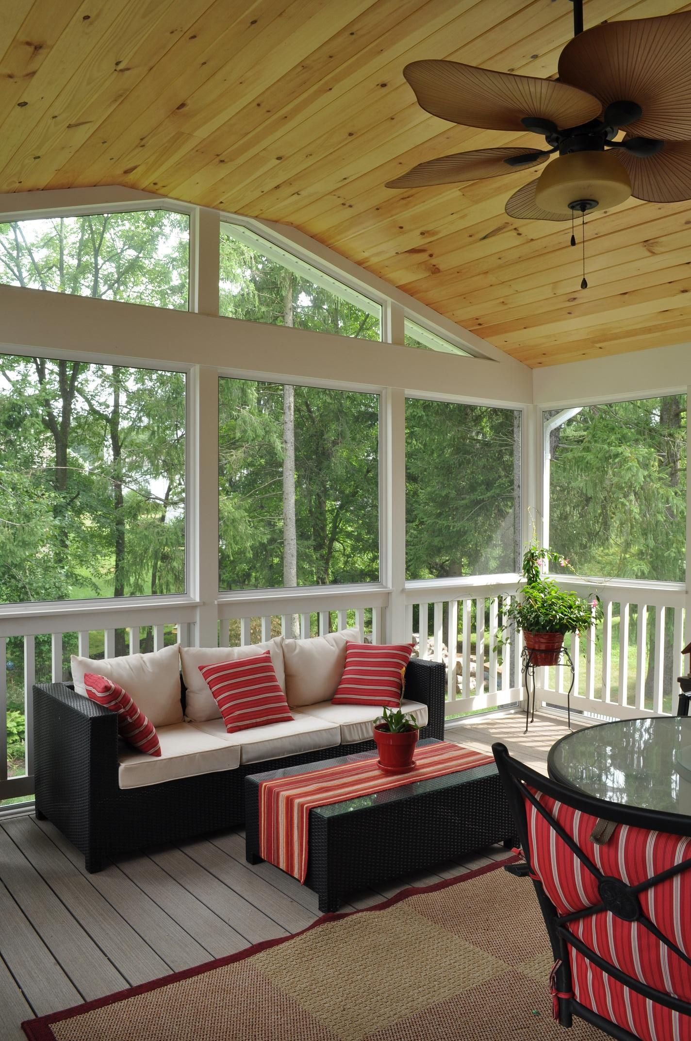 A Tongue Groove Knotty Pine Ceiling Adds A Natural Element To The Outdoor Space Tongue And Groove Ceiling Porch Interior Patio Room