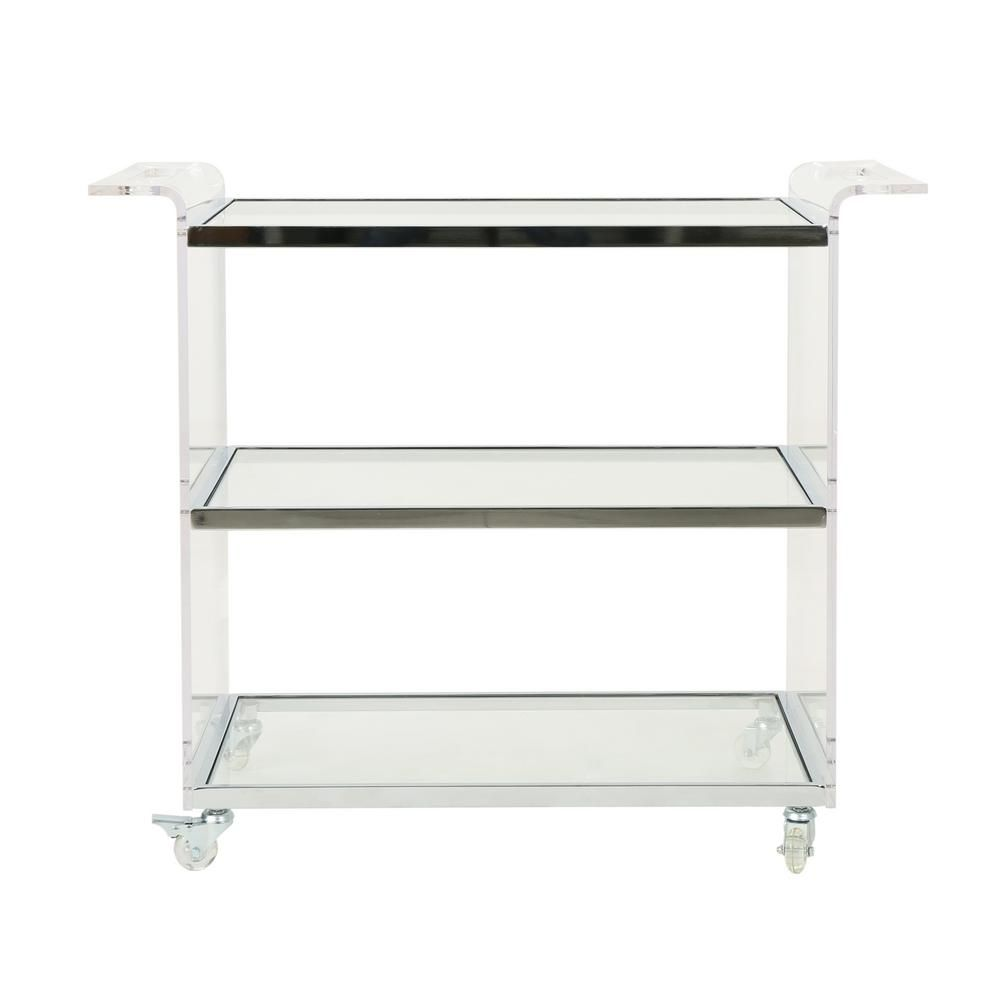 Noble House Yves Clear Glass 3 Tier Bar Trolley With Acrylic And Metal Frame Clear Silver With Images Noble House Iron Bar Stools Metal Bar Stools