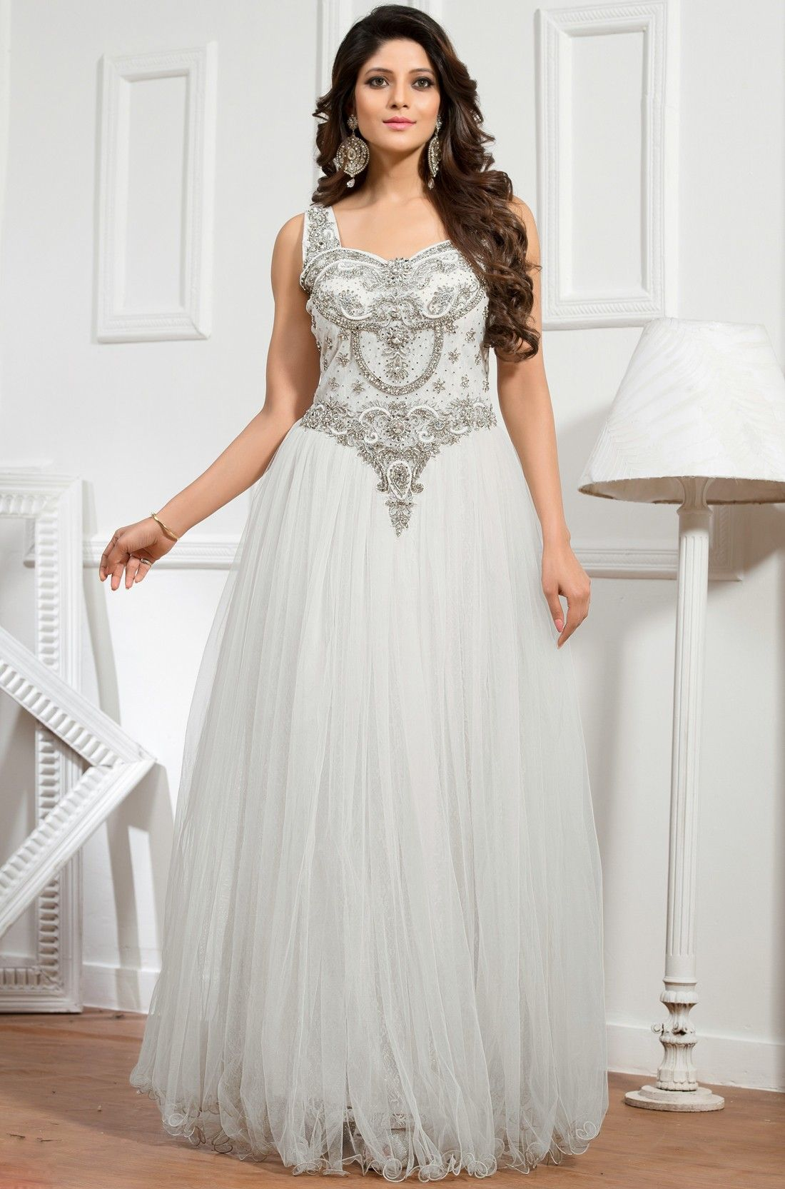 Off White Net Readymade Gown - #Indian-Gowns #Indian-Designer-Gowns #Evening-Party-Gown #Readymade-Gowns
