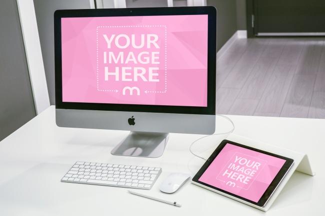 Imac And Ipad On Desk Mockup Mediamodifier Mockup Desk Imac Mockup