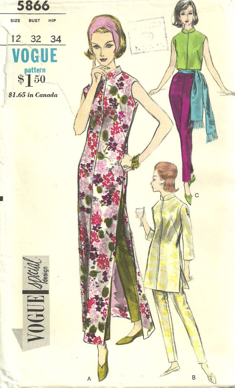 Vogue 5866 / Vintage Special Design Sewing Pattern / Pants Blouse ...