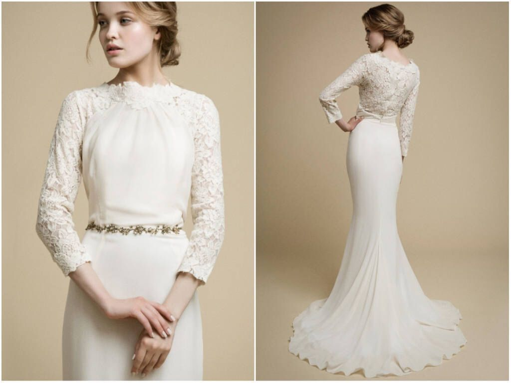 Apakena long sleeve wedding dress boho wedding dress lace wedding