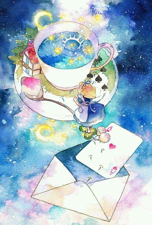 Alice E A Xicara De Cha Arte Em Aquarela Alice Alice No Pais