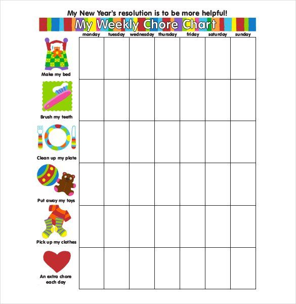 Printable Weekly Chore Chart Template  How To Make Good Schedule