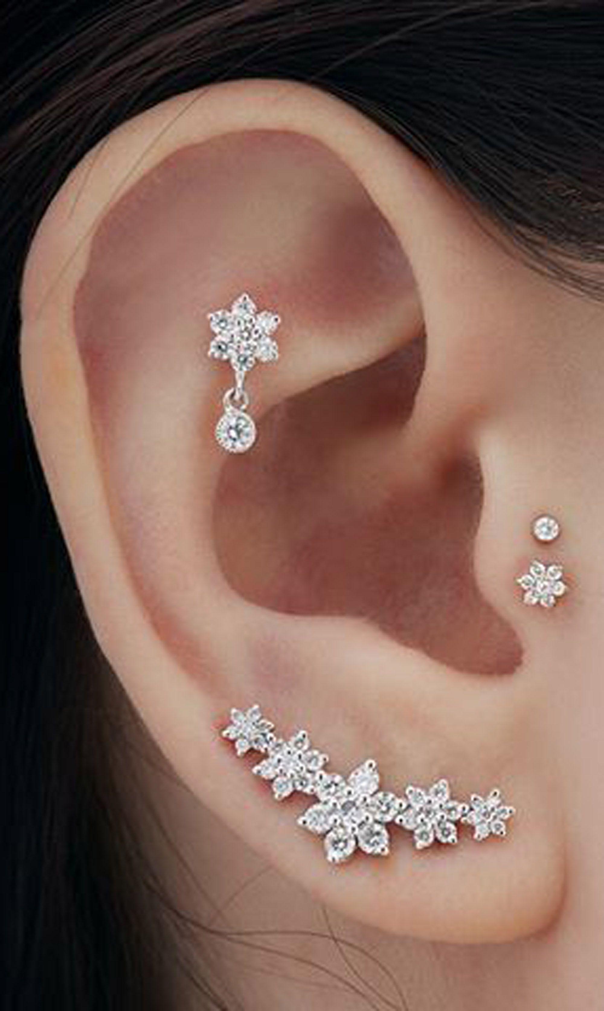 304130699c cute multiple ear piercing ideas for women flower cartilage earring studs  16G