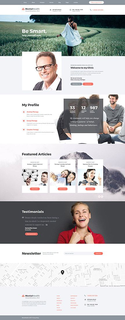 Mental Health - Psychologist Multipage Website Template | Webdesigns ...