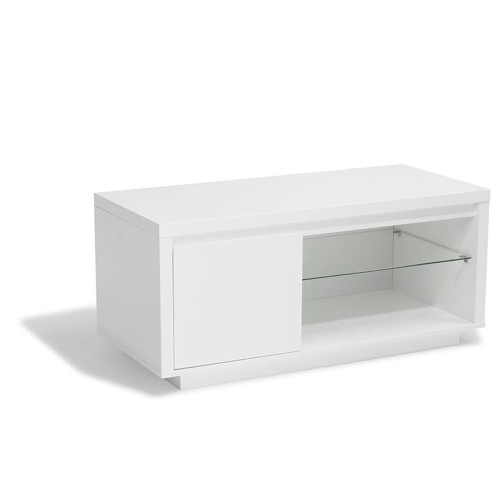 amenager petit salon tv meuble blanc