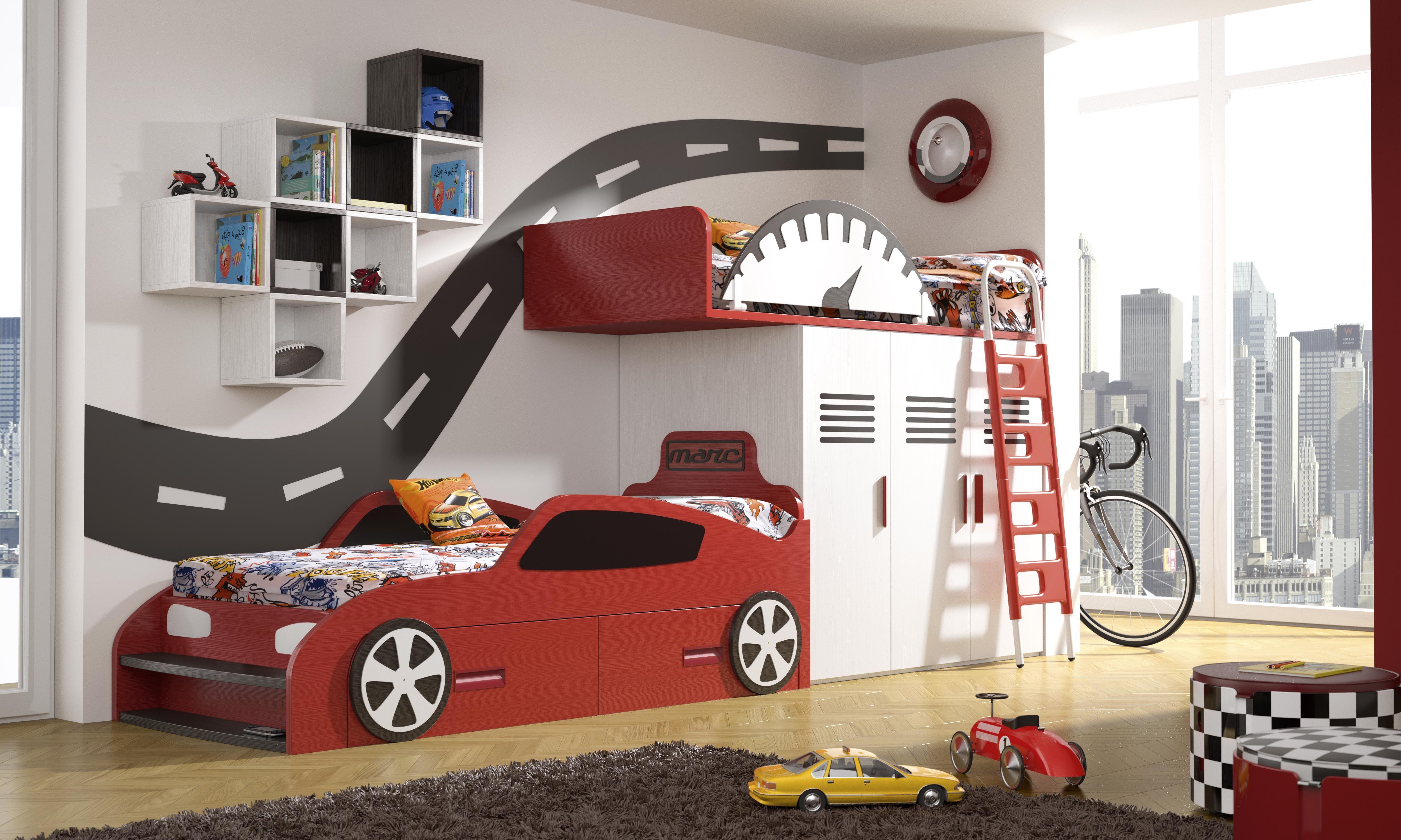 Habitaci n infantil tem tica dibujos animados coches1 - Camas infantiles originales ...