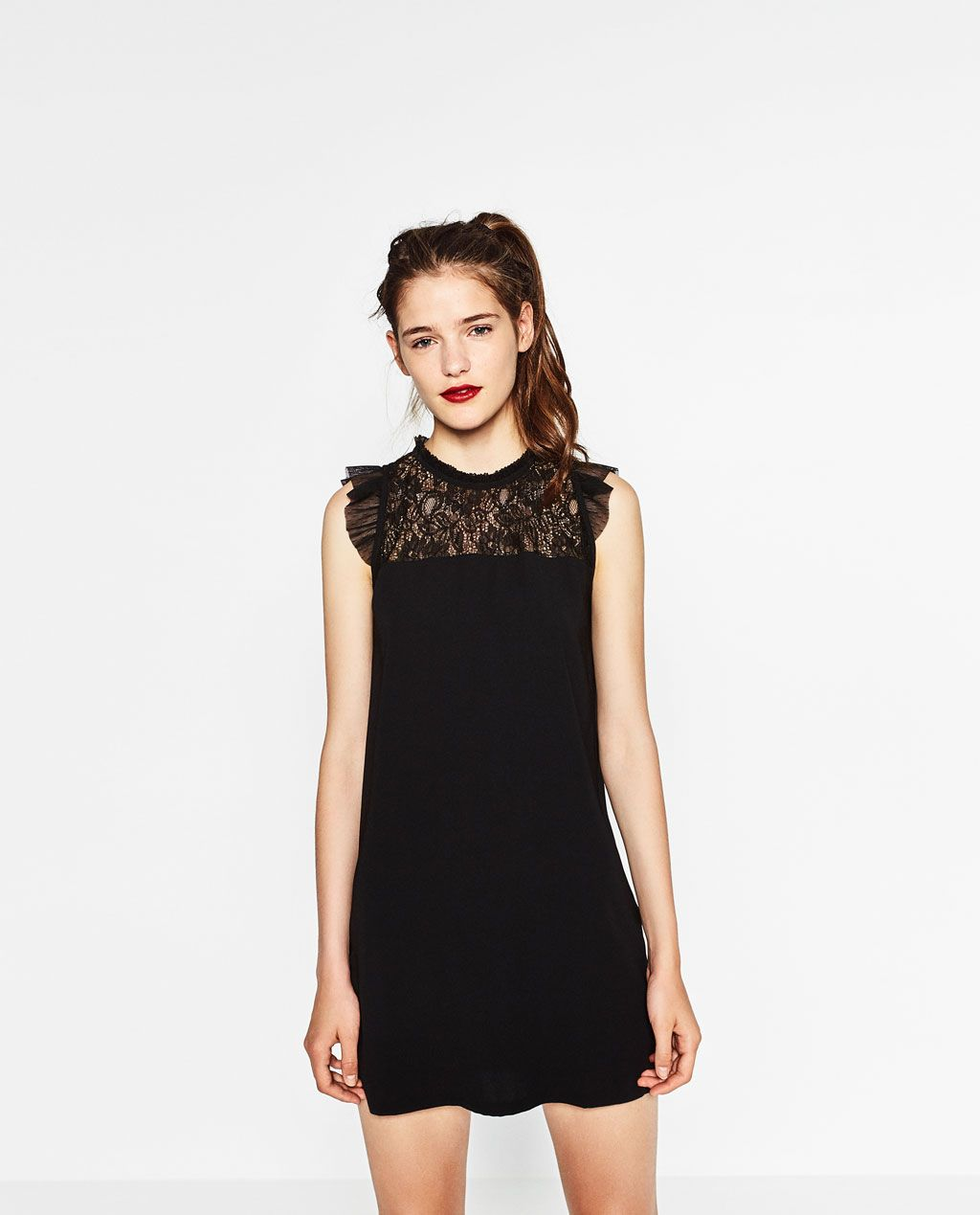 76834e2d13dd DRESS WITH A LACE BIB FRONT-DRESSES-WOMAN