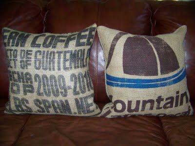 burlap coffee sack pillows