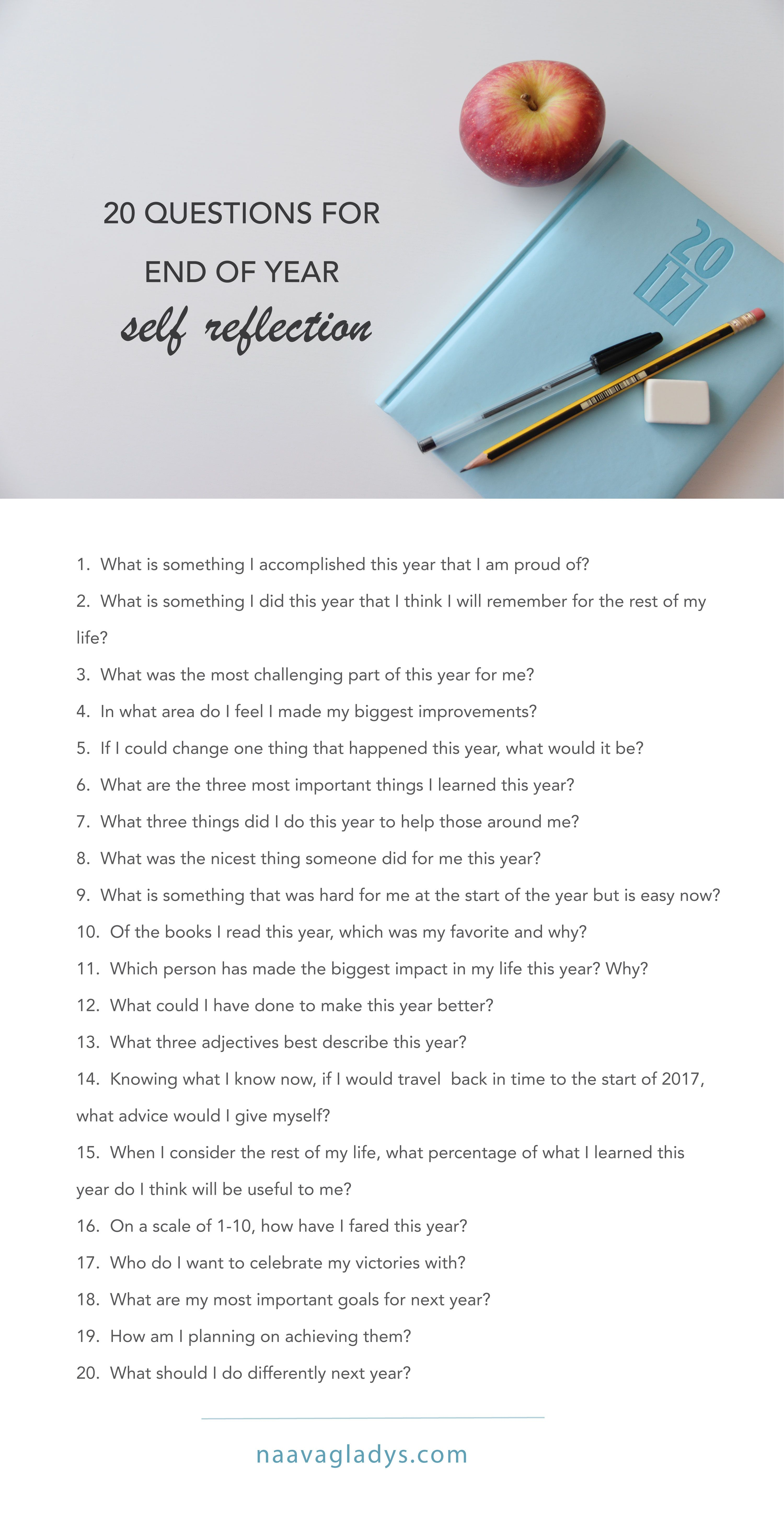 20 Questions For End Of Year Self Reflection Journal Prompts Selfreflection Naavagladys