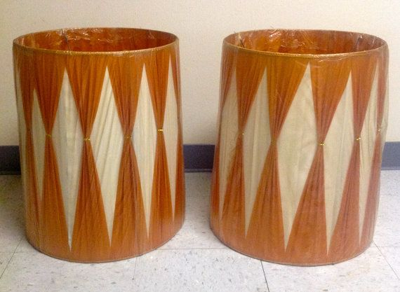 Vintage pair nos mid century burnt orange and white gathered lamp vintage pair nos mid century burnt orange and white gathered lamp shades from funkyfindsofohio 20945 aloadofball