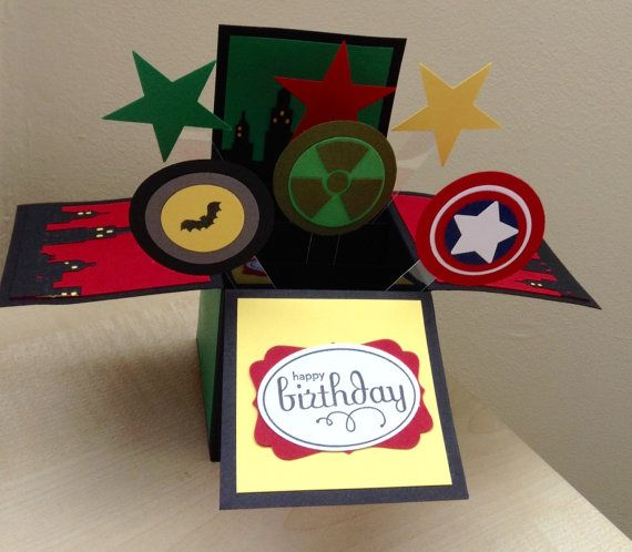 Handmade Card In A Box Marvel Theme Superhero Theme Birthday
