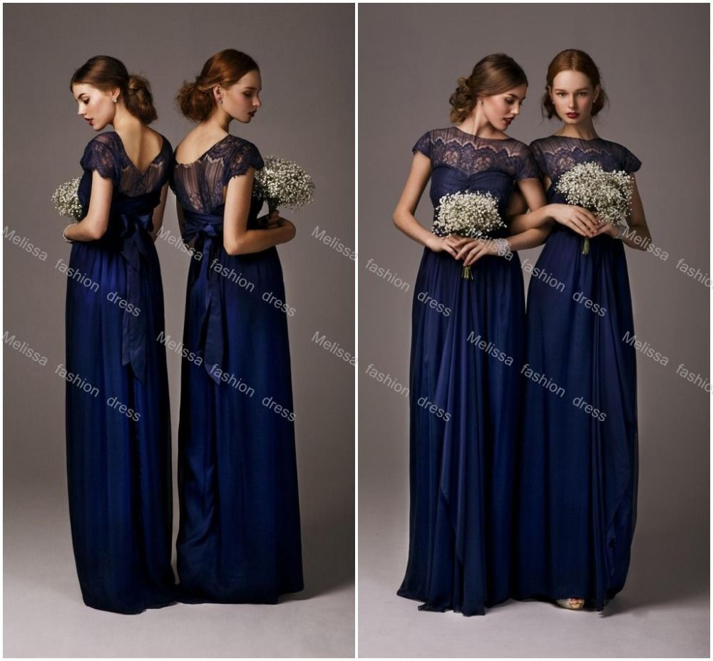 2017 Navy Blue Scoop Sheer Lace Long Bridesmaid Dresses Cap Sleeves Floor Length Wedding Guest 2016 Weddings Formal Events My