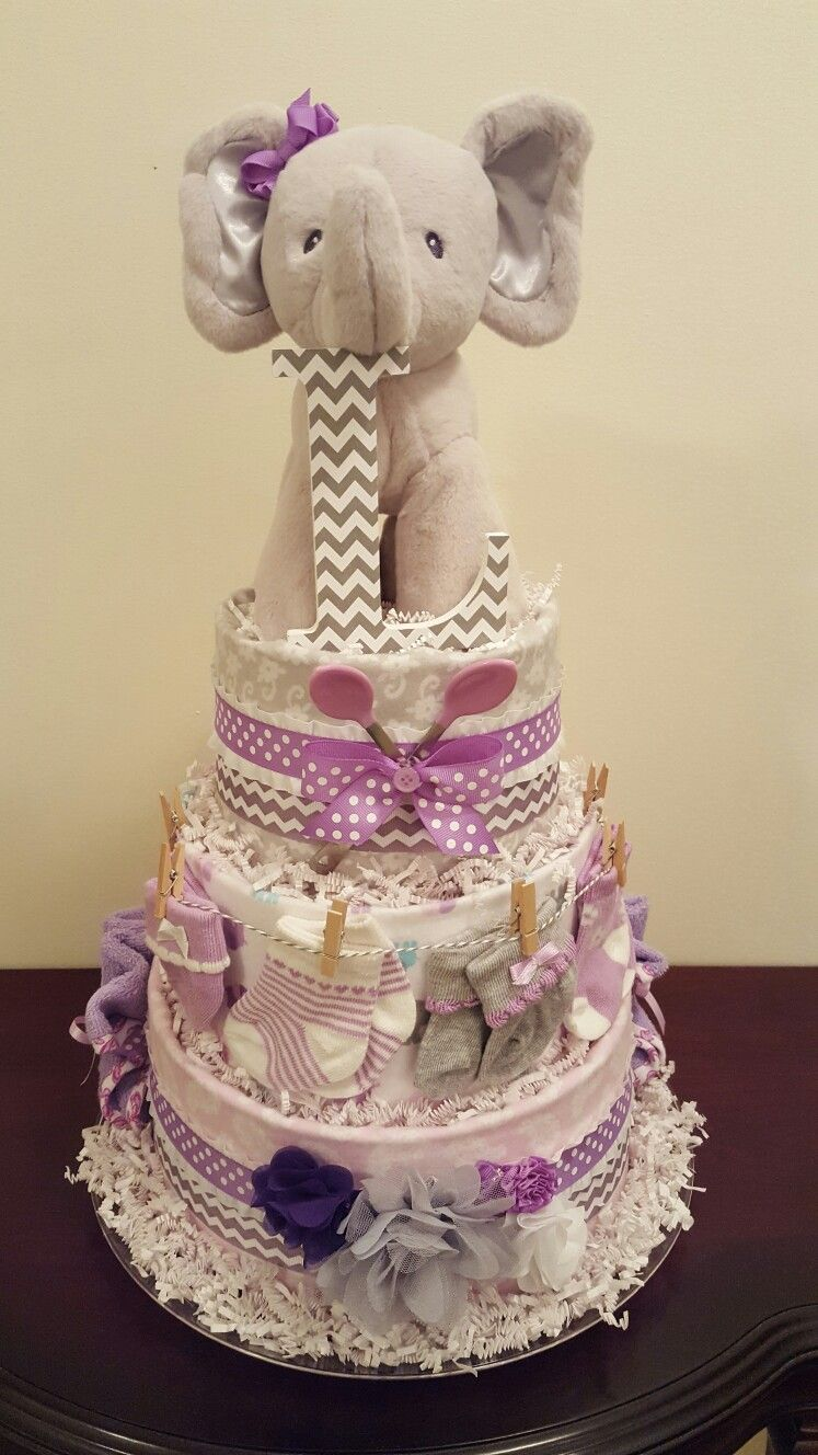 purple and grey elephant diaper cake! it's a girl! diaper cake