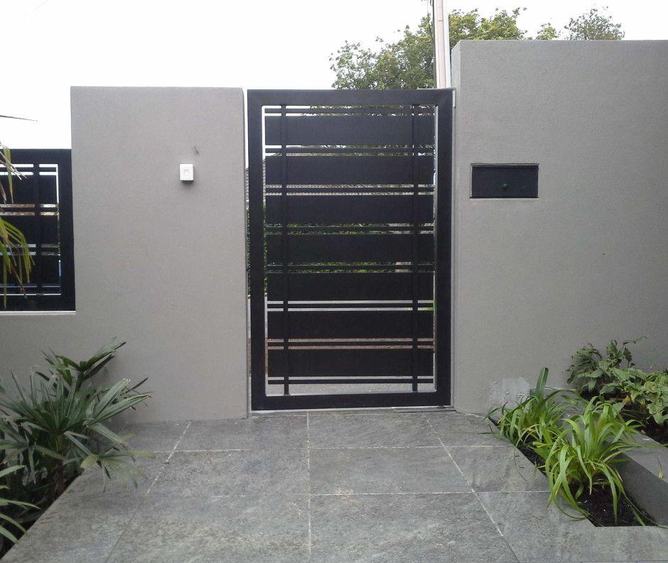 Driveway gates pedestrian gate and security intercom for Steel door design