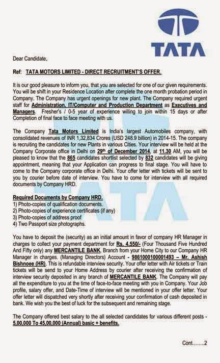 recruitment scam tata motors india shared quot offer letter pdf - employee proposal letter