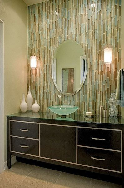 trending in bathroom decor glass tile