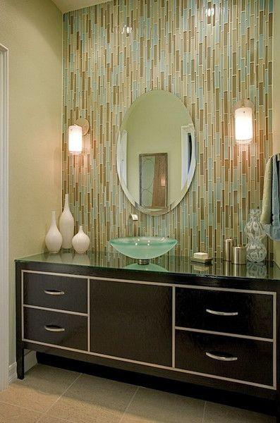 trending in bathroom decor glass tile