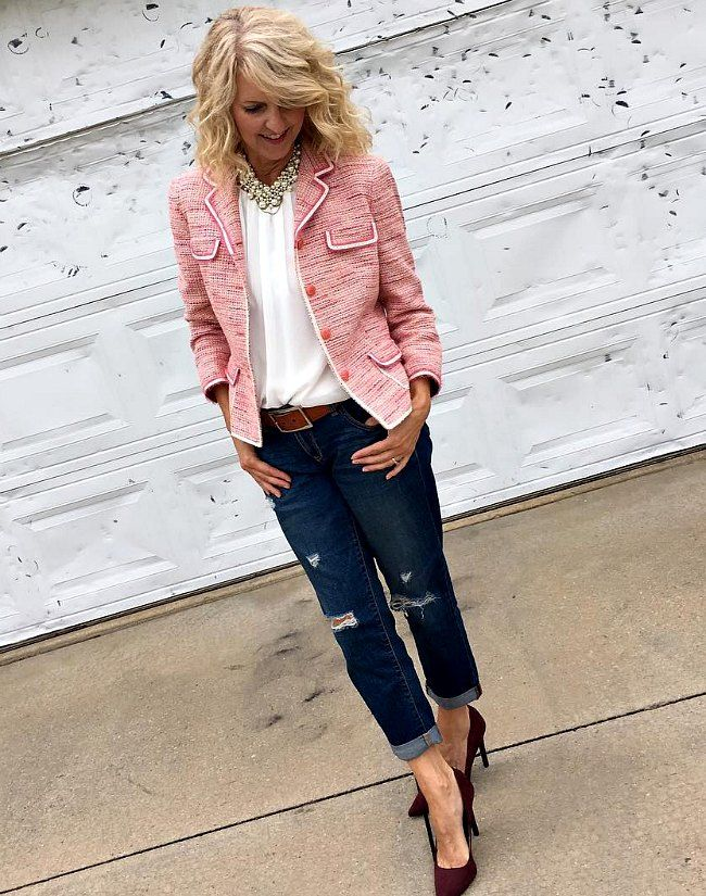 Pretty in Pink   Style Bloggers Over 40   denim on bottom     Pretty in Pink   Style Bloggers Over 40