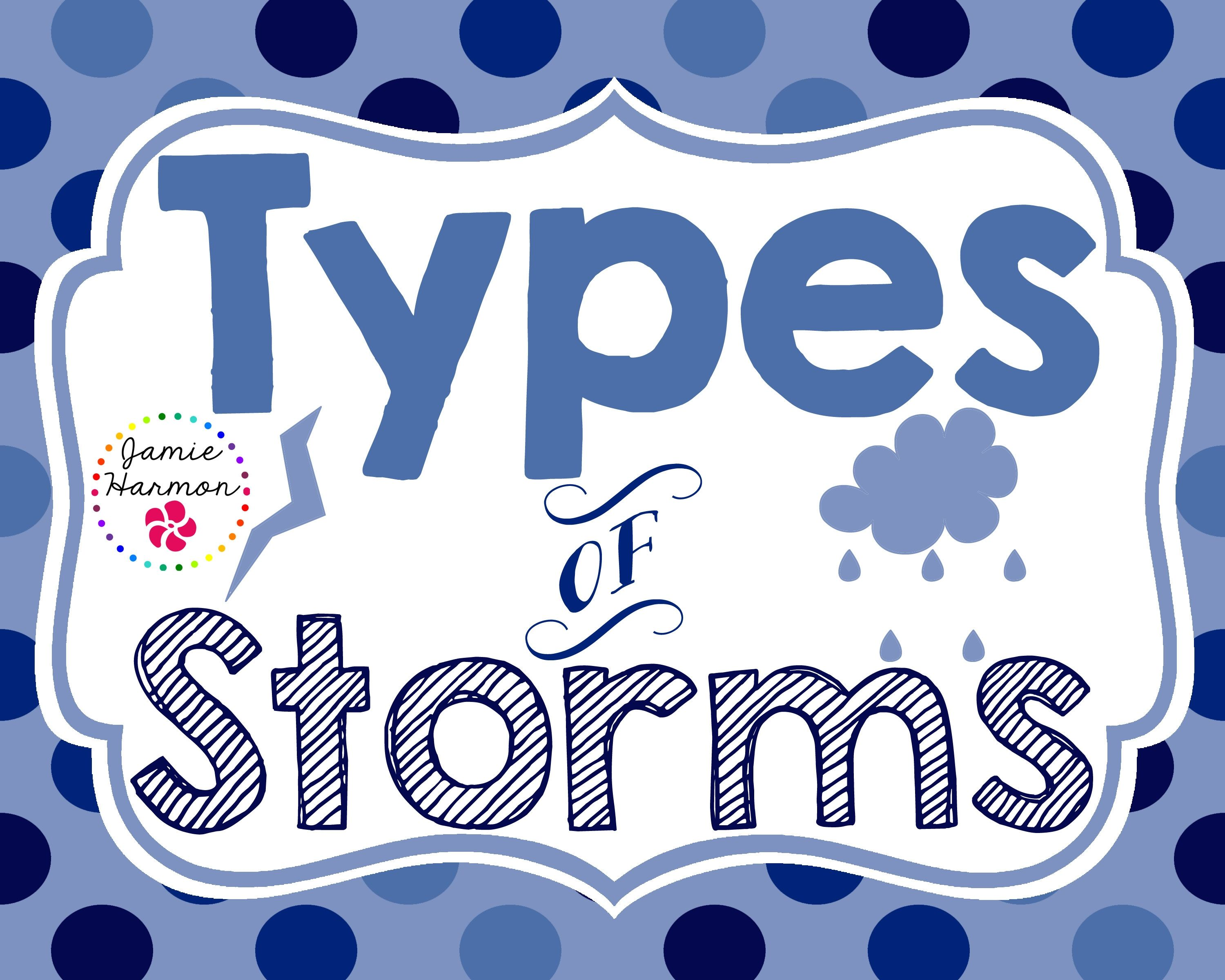 Mini Chart Set Showcasing Different Types Of Storms