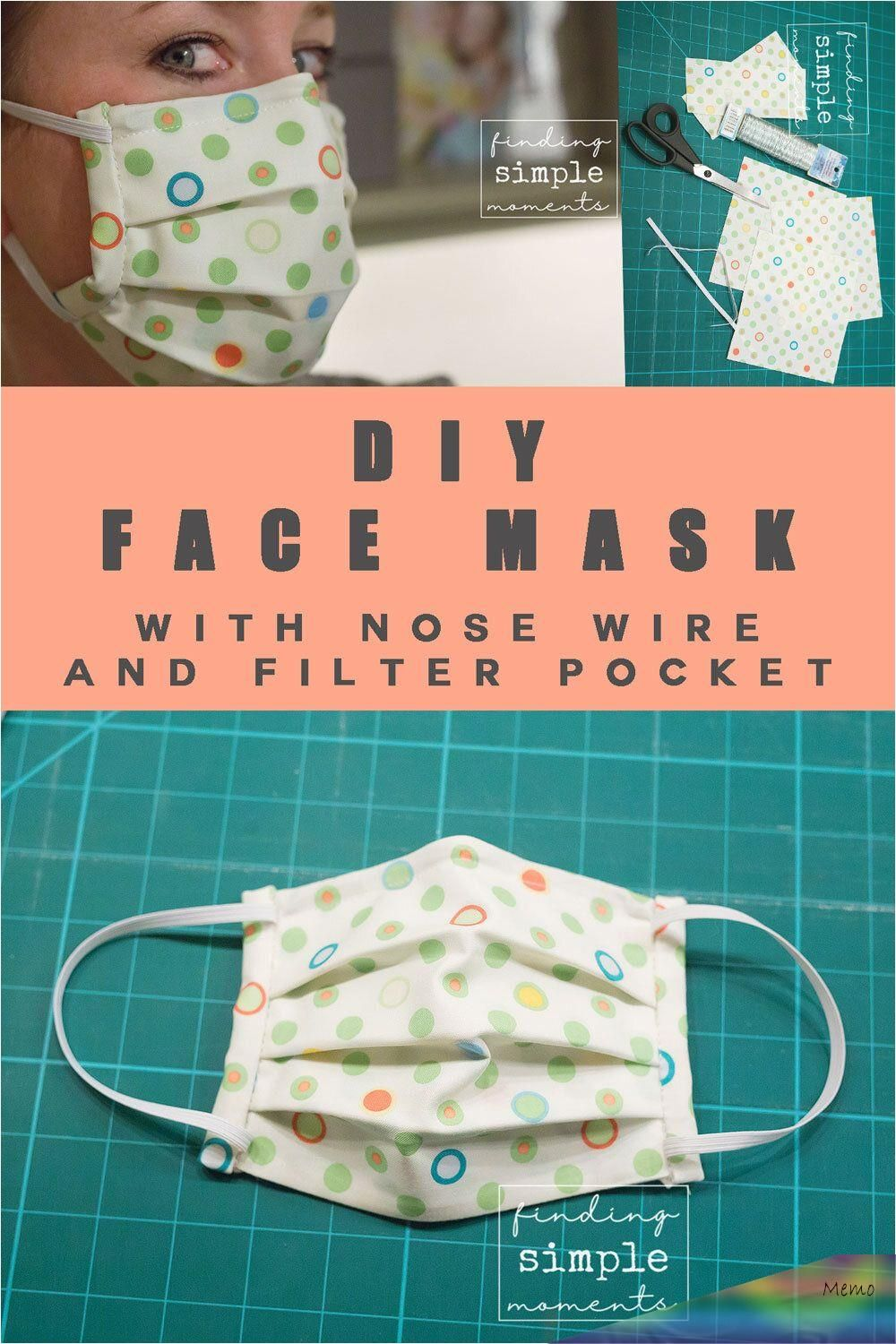 Easy DIY Face Mask with Nose Wire and Filter Pocket