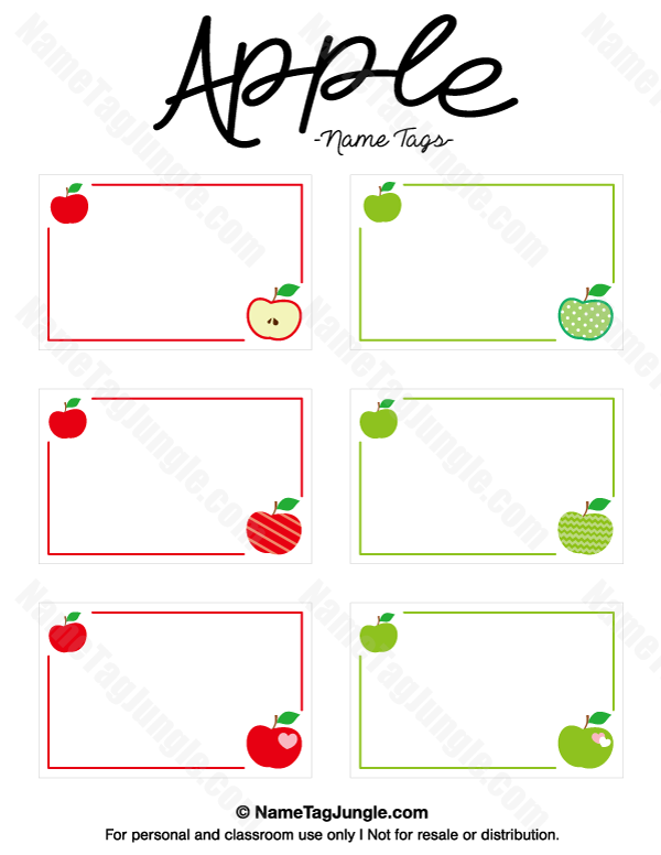 name templates for preschool - free printable apple name tags the template can also be