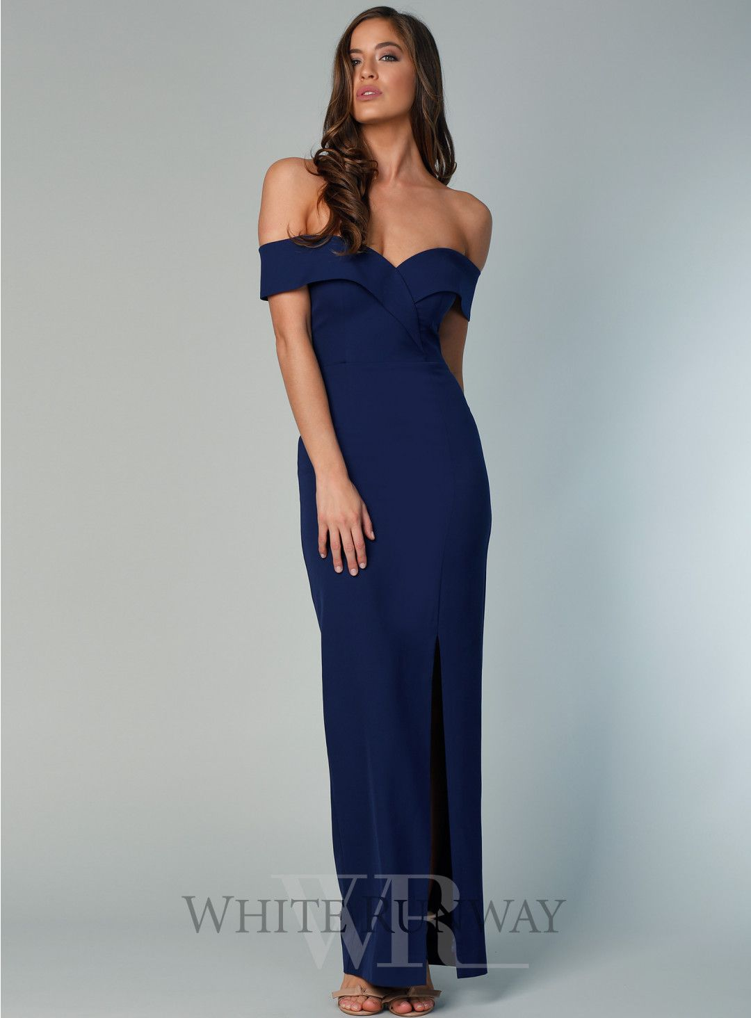 0d3c009e933 Gia Off Shoulder Pencil Dress. A gorgeous full length dress by Samantha Rose.  An off shoulder style with pencil skirt and side leg split.