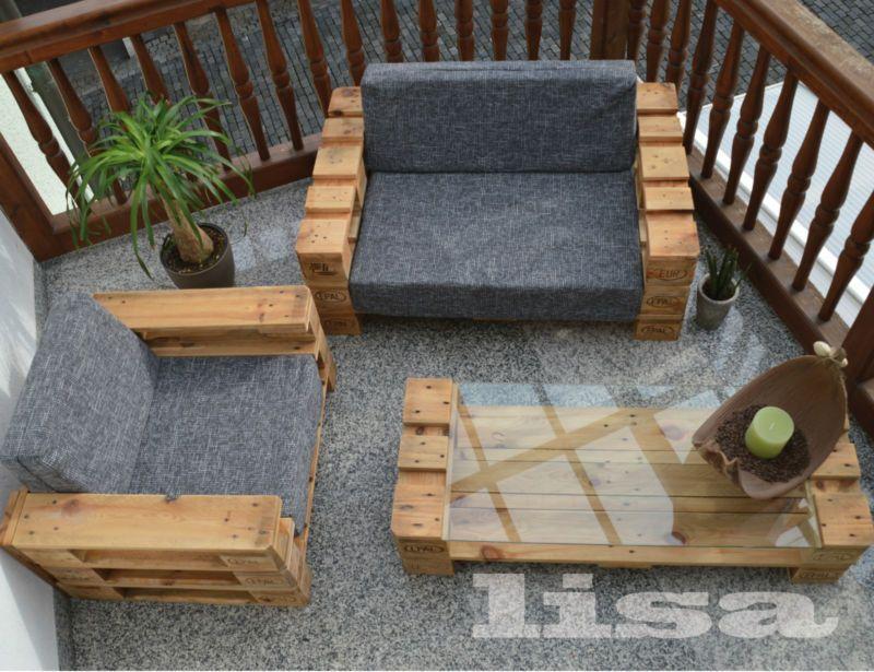 Lounge Gartenmöbel 2 Sitzer Palettenmöbel, Terrasse Vintage Design Balkon