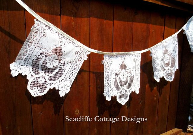 Vintage lace bunting #Seacliffe Cottage Designs  https://www.facebook.com/SeacliffeCottageDesigns