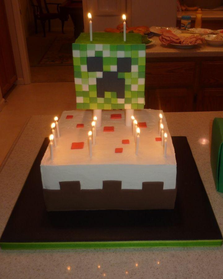 minecraft creeper cake Childrens Birthday Cakes Birthday cakes