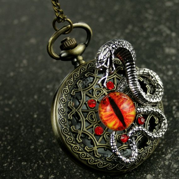 Steampunk Bronze Antique Pocket Watch Necklace Pirate