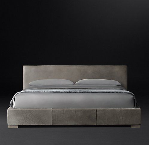 Non tufted Panel Leather Platform Bed RH Modern In the bedroom